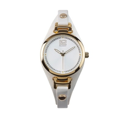 Peugeot ladies watch with white double bracelet
