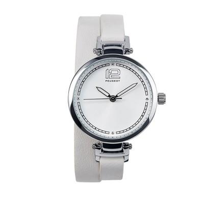 Dámske hodinky Peugeot s bielym dvojitým koženým náramkom
