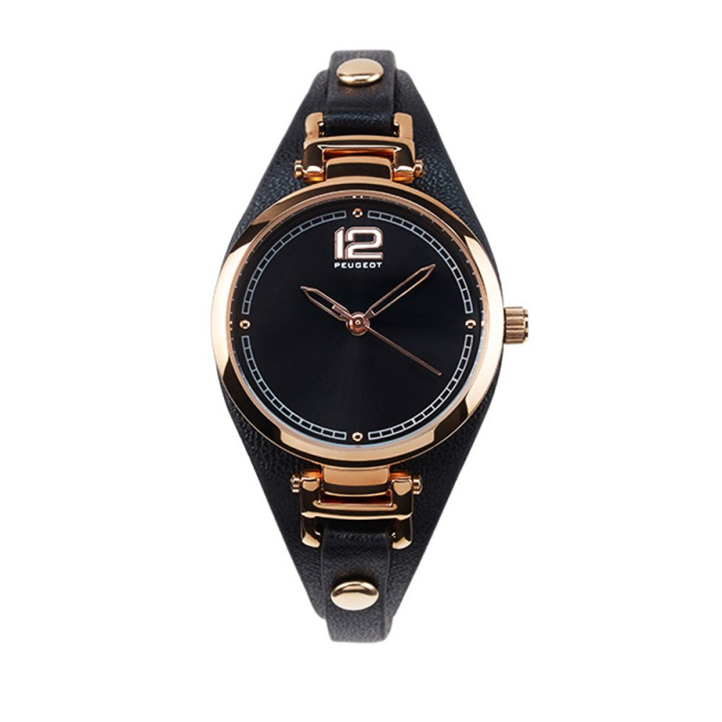 Dámské hodinky Peugeot s černým koženým náramkem