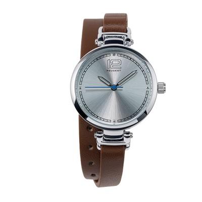 Dámské hodinky Peugeot s dvojitým koženým hnědým náramkem