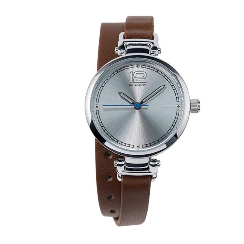 Dámské hodinky Peugeot s dvojitým hnědým náramkem
