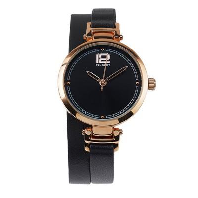 Dámské hodinky Peugeot s černým koženým dvojitým náramkem