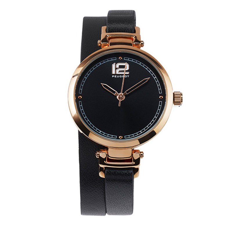 Dámské hodinky Peugeot s černým dvojitým náramkem