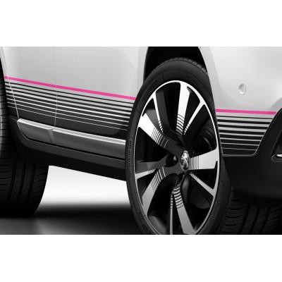 Satz von 2 seitlichen Schwelleraufklebern PINK Peugeot 2008