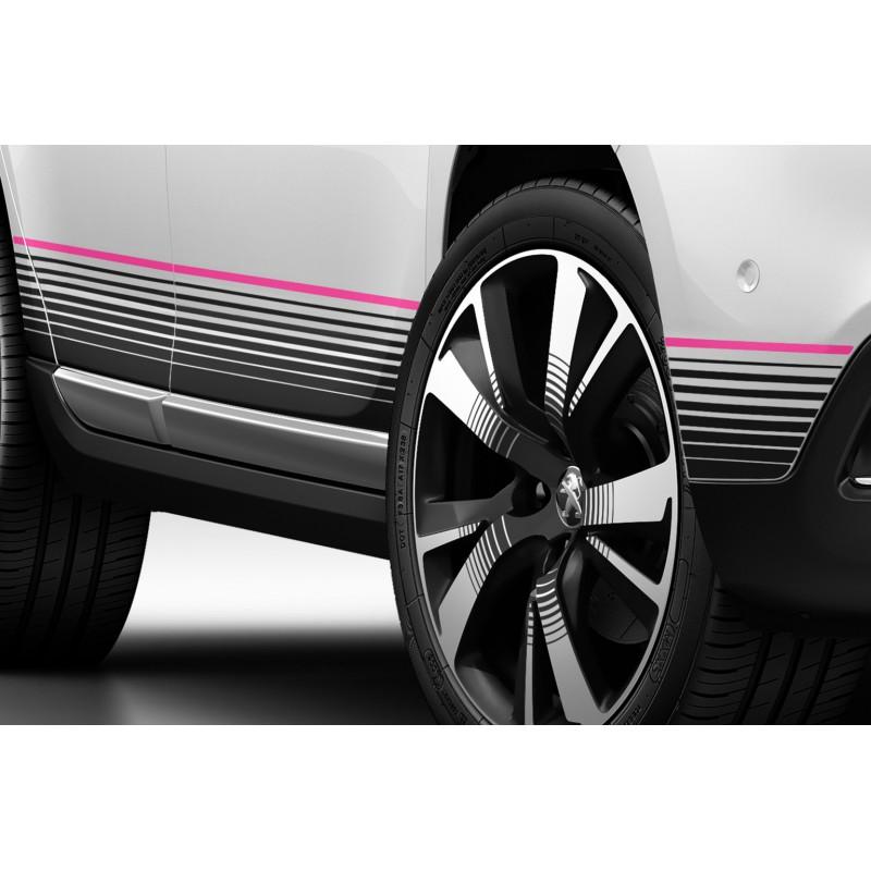 Bočné růžové polepy prahových pozdĺžnikov Peugeot 2008