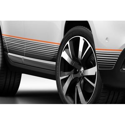 Satz von 2 seitlichen Schwelleraufklebern ORANGE Peugeot 2008