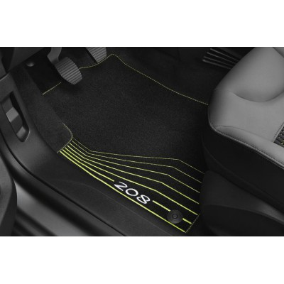 """Serie di tappetini in velluto """"LIME YELLOW"""" Peugeot 208"""