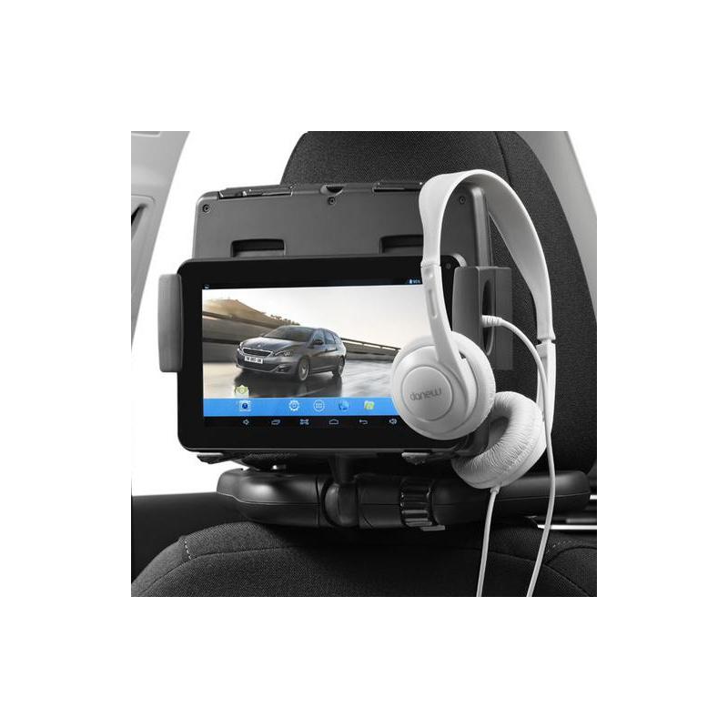 """Dotykový tablet 7"""" s držákem na opěrce hlavy a dětskými sluchátky"""