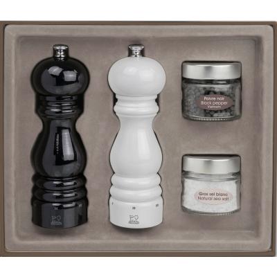 Peugeot Darčekový set mlynčekov na korenie a soľ PARIS U Select, lakovaný čierny a biely 18 cm
