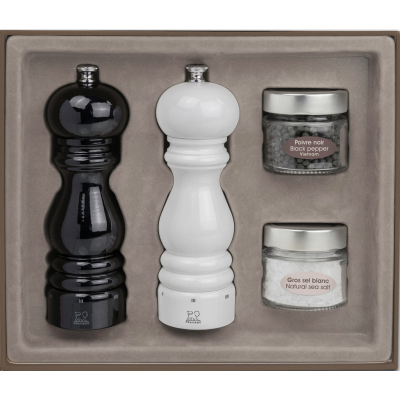 Peugeot PARIS U'Select Gift Set Pepper and Salt Mill, Black and White Lacquered 18 cm