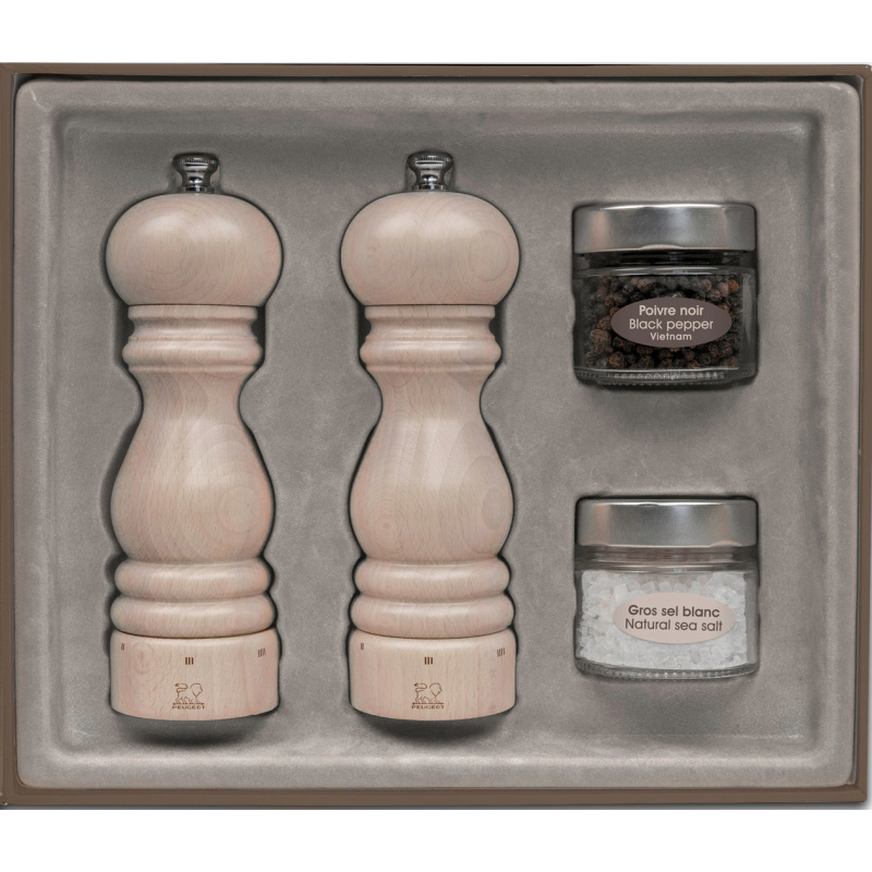 peugeot paris u'select gift set pepper and salt mill, white lasured