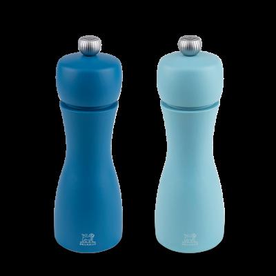 Peugeot TAHITI Dúo de molinillos de pimienta y sal, azul 15 cm