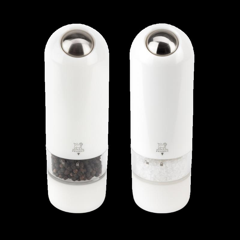 Darčekový set Peugeot elektrických mlynčekov na korenie a soľ biely ALASKA