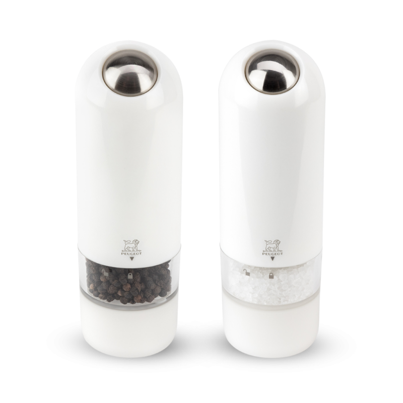 Gift set Peugeot electric pepper and salt grinders white ALASKA
