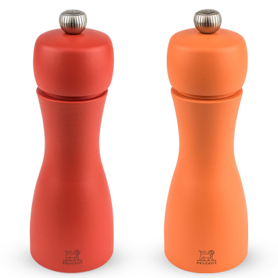 Peugeot TAHITI Duo Pfeffer- und Salzmühle, Pfirsich- und Korallenfarben, 15 cm