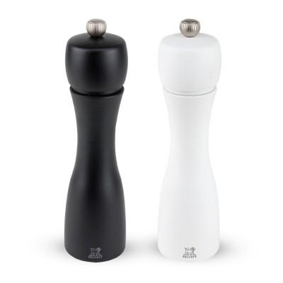 Peugeot TAHITI Dúo de molinillos de pimienta y sal negro y blanco 20 cm