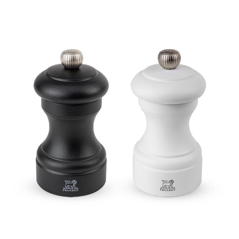 Peugeot BISTRO Duo manuelle Pfeffer- und Salzmühle aus Holz, weiß und schwarz, 10 cm