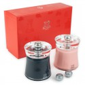 Gift box Peugeot BALI pepper and salt mill, gray and pink 8 cm