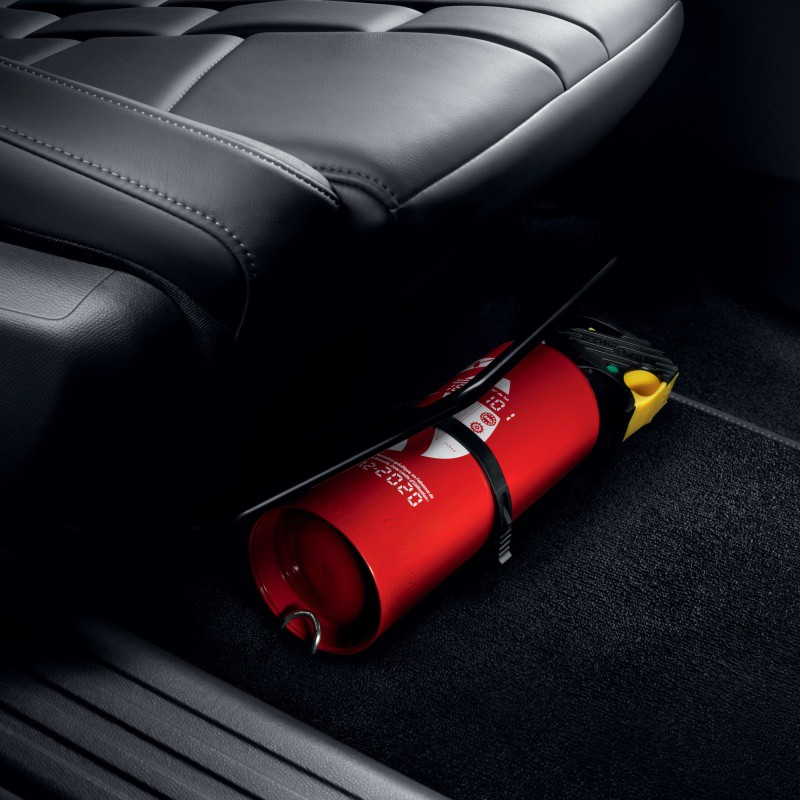 Fire extinguisher holder under the seat of Peugeot, DS Automobiles