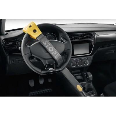 Anti-theft rod on steering wheel