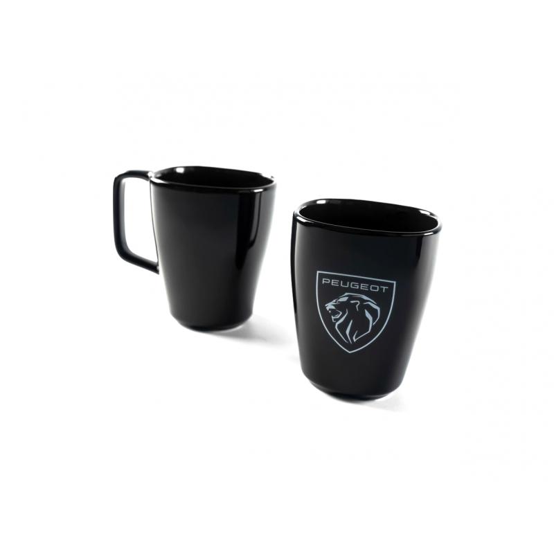 Keramický hrnček Peugeot BRAND LOGO čierny